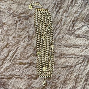 Silver multi link crystal Uno de 50 bracelet